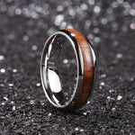 King Will Nature™6mm SILVER dome Polished Ring Inlaid with KOA wood