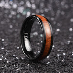 King Will Nature™6mm BLACK dome Polished Ring Inlaid with KOA wood