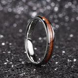 King Will Nature™4mm silver dome Polished Ring Inlaid with KOA wood