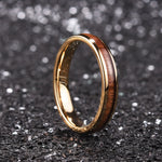 King Will Nature™4mm ROSE GOLD dome Polished Ring Inlaid with KOA wood