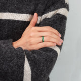 King Will Nature™4mm Black Polished Ring Inlaid with Green Opal Sticker