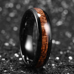 king will nature™  black ceramic dome ring with koa wood inlay