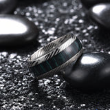 King Will NATURE™Inlaid Green Wood and Inner Hole Plating Damascus Textured Wedding Ring