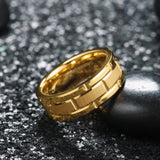 King Will CLASSIC™Gold Brick Pattern Brushed Finish Ring