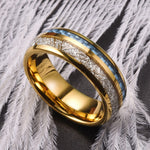 King Will Meteorâââ'? Imitated Meteorite & blue carbon fiber inlay with gold dome ring - Twin