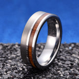 king will nature™ brushed ring with pipe cut and wood inlay
