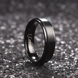 King Will BASIC™6mm Black Matte Brushed Ring with I LOVE YOU LASER