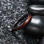 king will nature™ 3mm black ceramic dome ring with koa wood inlay