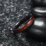 king will nature™ 4mm black ceramic dome ring with koa wood inlay