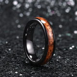 king will nature™ 5mm black ceramic dome ring with koa wood inlay