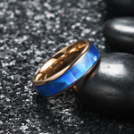 King Will Nature™6mm Inlaid Triangle Blue Opal Sticker Dome Wedding Engagement Band