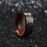King Will Nature™Ring Inner Hole Inlaid Wood Hammered Texture Flat Style