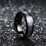 King Will Gentleman™Blue Carbon Fiber & Rose Gold Unique Pattern Inlay Comfort Fit Wedding Ring