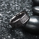 King Will Gentleman™Black Carbon Fiber Inlay Unique Pattern Comfort Fit Wedding Ring