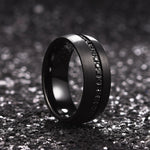 King Will GEM™ Black Tungsten Carbide Ring With CZ Stones Inlaid Brushed Surface Domed