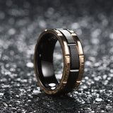 King Will CLASSIC™Black and Rose Gold Brick Pattern Brushed Finish Ring