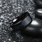 king will Dragon™ Light Blue Grit Black Celtic Dragon Wedding Band