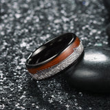 King Will  NATURE™Tungsten Carbide Ring with Wood & Silver Wire & Arrow