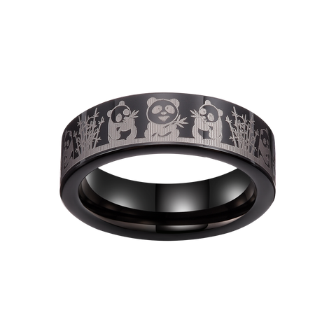 King Will Mens 6mm Tungsten Carbide Ring Inlaid with Panda Pattern Black High Polished 6