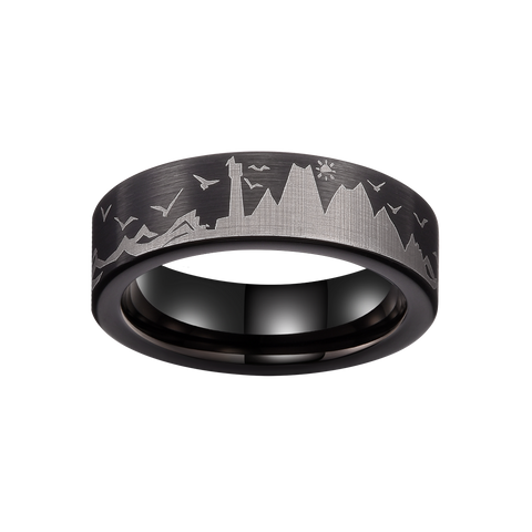 King Will Mens 6mm Tungsten Carbide Ring Inlaid with Seagull Pattern Black High Polished