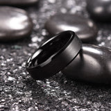 King Will Basic™ 6mm Black Matte Finish Beveled Polished Edge Ring
