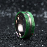 King Will Color™ Inlaid Green Resin&Slender Silver Titanium Ring