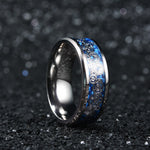 King Will GENTLEMAN™Inlaid Blue Carbon Fiber&Concentric Circles Pattern Wedding Ring