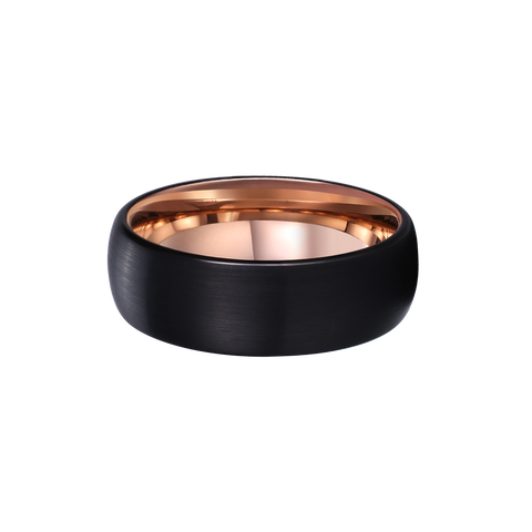 King Will DUO™ rose gold plated domed ring with black brushed center