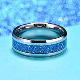 king will Dragon™ Blue Celtic Imitated Meteorite Inlay Wedding Ring