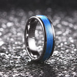 King Will  GENTLEMAN™Tungsten Carbide Ring Inlay Blue Silk Texture Paper