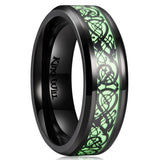 king will Aurora ™ Black CELTIC DRAGON NOCTILUCENT RING