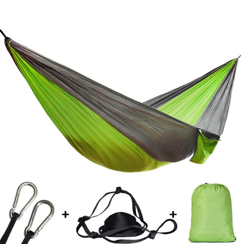 Double Hammock for Outdoor, Backpacking, Survival, and Hunting (Included: 2 Straps, 2 Carabiners, Double Hammock, & Bag)