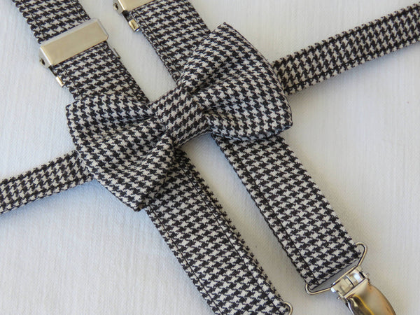 black and white herringbone bow tie and suspenders - Taylors Tartns