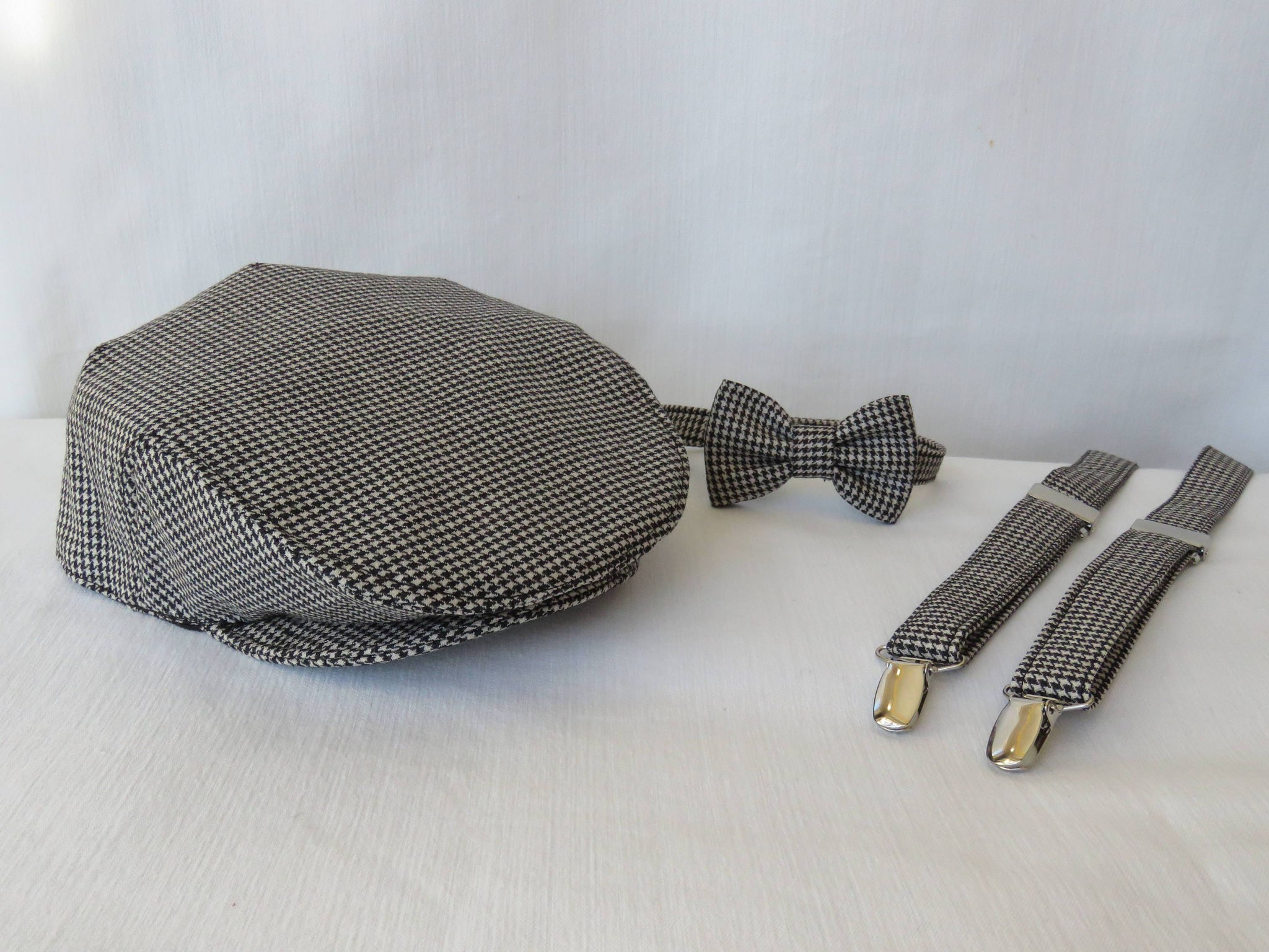 Black and White Flat Cap Bow Tie Suspenders Set-Taylors Tartans