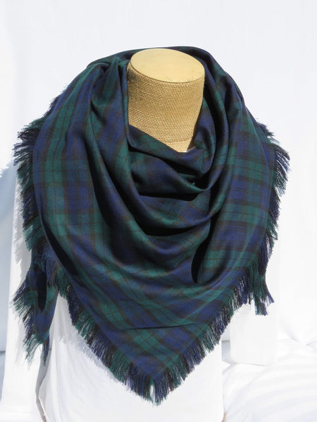 Black Watch Tartan Blanket Scarf or Black Watch Tartan Bridal Wrap