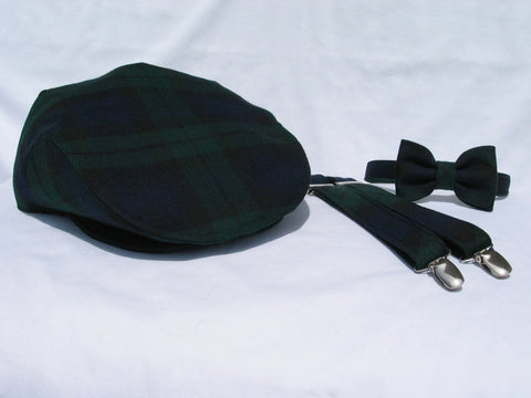 Black Watch Tartan Flat Cap Bow Tie and Suspenders-Taylors Tartans