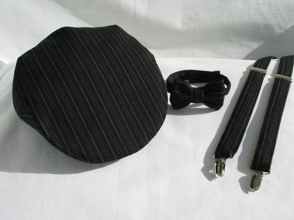 Black with Cream Pinstripe Newsboy Cap Suspenders Bow Tie-Taylors Tartans