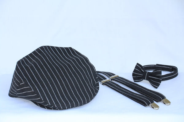 Black with White Stripe Newsboy Hat, Bow Tie Suspenders