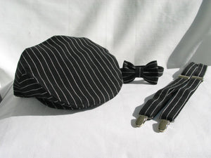 Black with White Stripe Newsboy Hat, Bow Tie Suspenders-Taylors Tartans