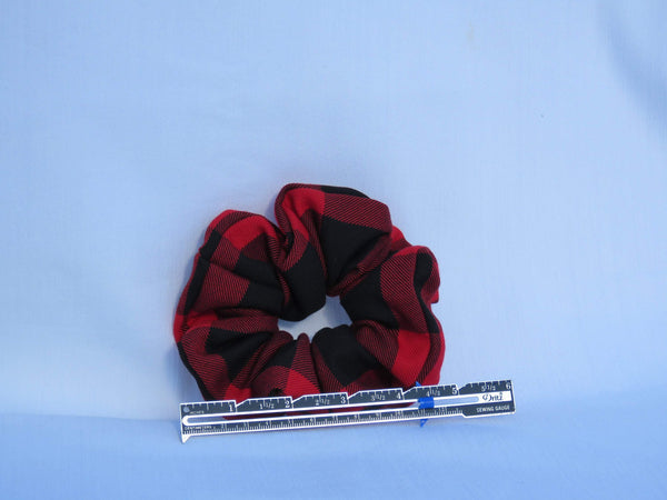 Red and Black Buffalo Scrunchies