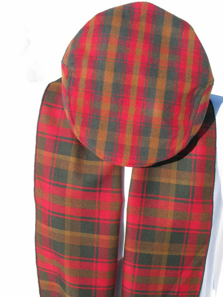 Canadian Maple Leaf Tartan Flat Cap and Scarf Set