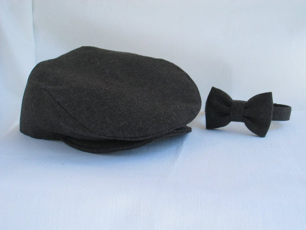 Charcoal Gray Newsboy Flat Cap and Suspenders Set