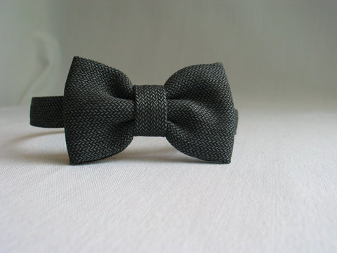 Dark Gray Herringbone Bow Tie-Taylors Tartans