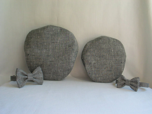 Father and Son Gray Tweed Hats