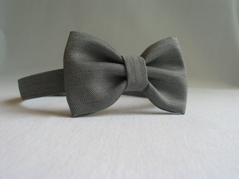 Gray Herringbone Bow Tie-Taylors Tartans