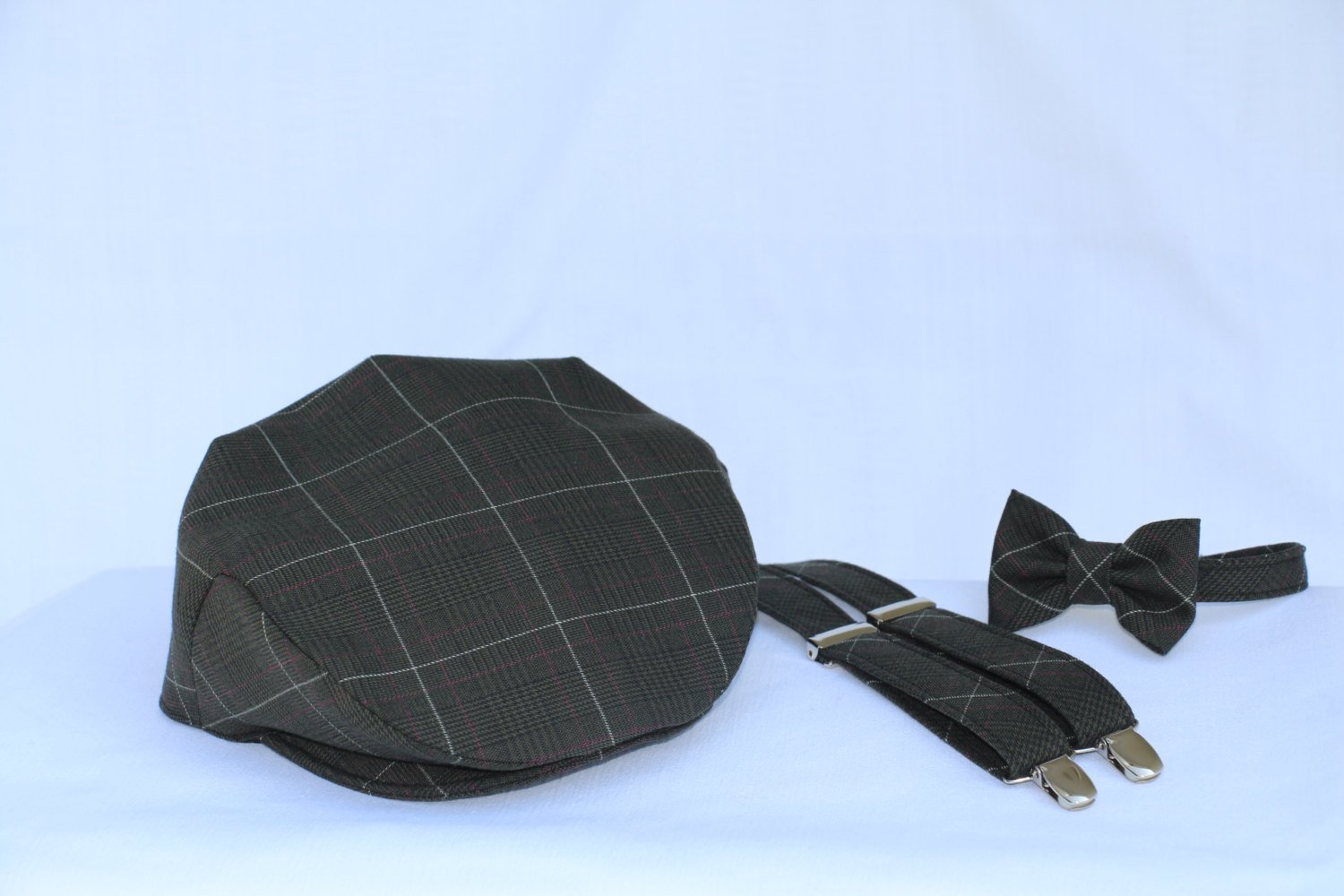 Green Plaid Braces, Cap and Bow Tie-Taylors Tartans