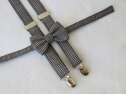 Hounds tooth Bow tie and Braces-Taylors Tartans