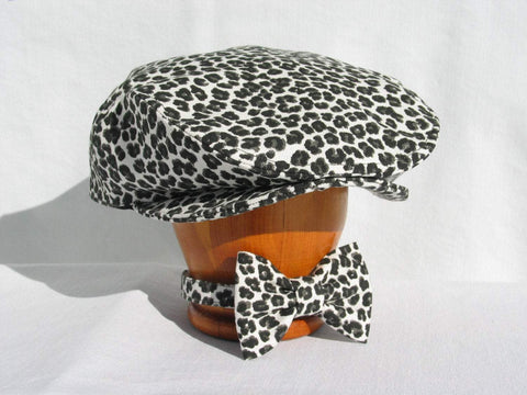 Leopard Print Newsboy Cap and Bow Tie-Taylors Tartans