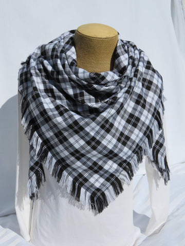 Menzies White Blanket Scarf-Taylors Tartans