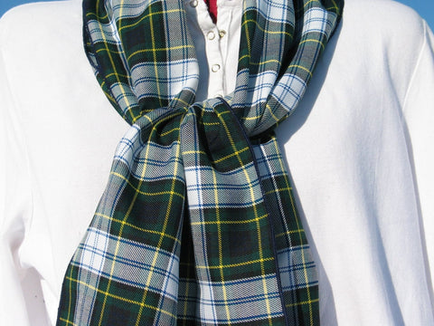 Navy and Green Gordon Dress Tartan Plaid Scarf-Taylors Tartans